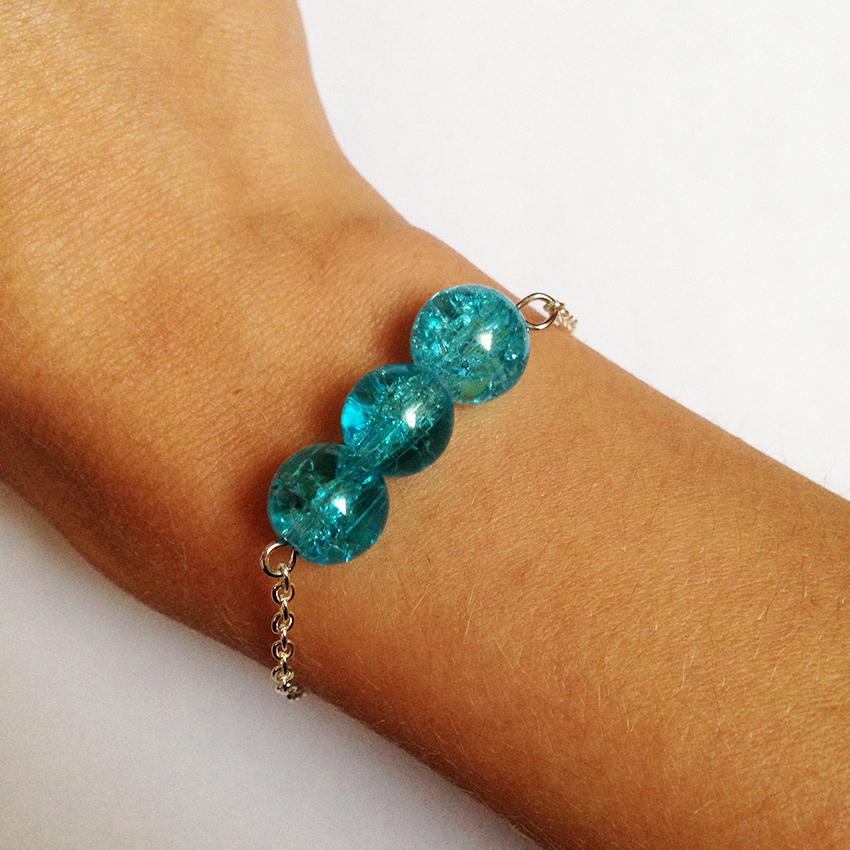 Bracelet Bulle grosses perles bleu azur