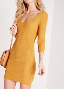 Robe à encolure V jaune moutarde - MissGuided
