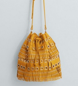 Sac à franges et clous jaune moutarde - Mango