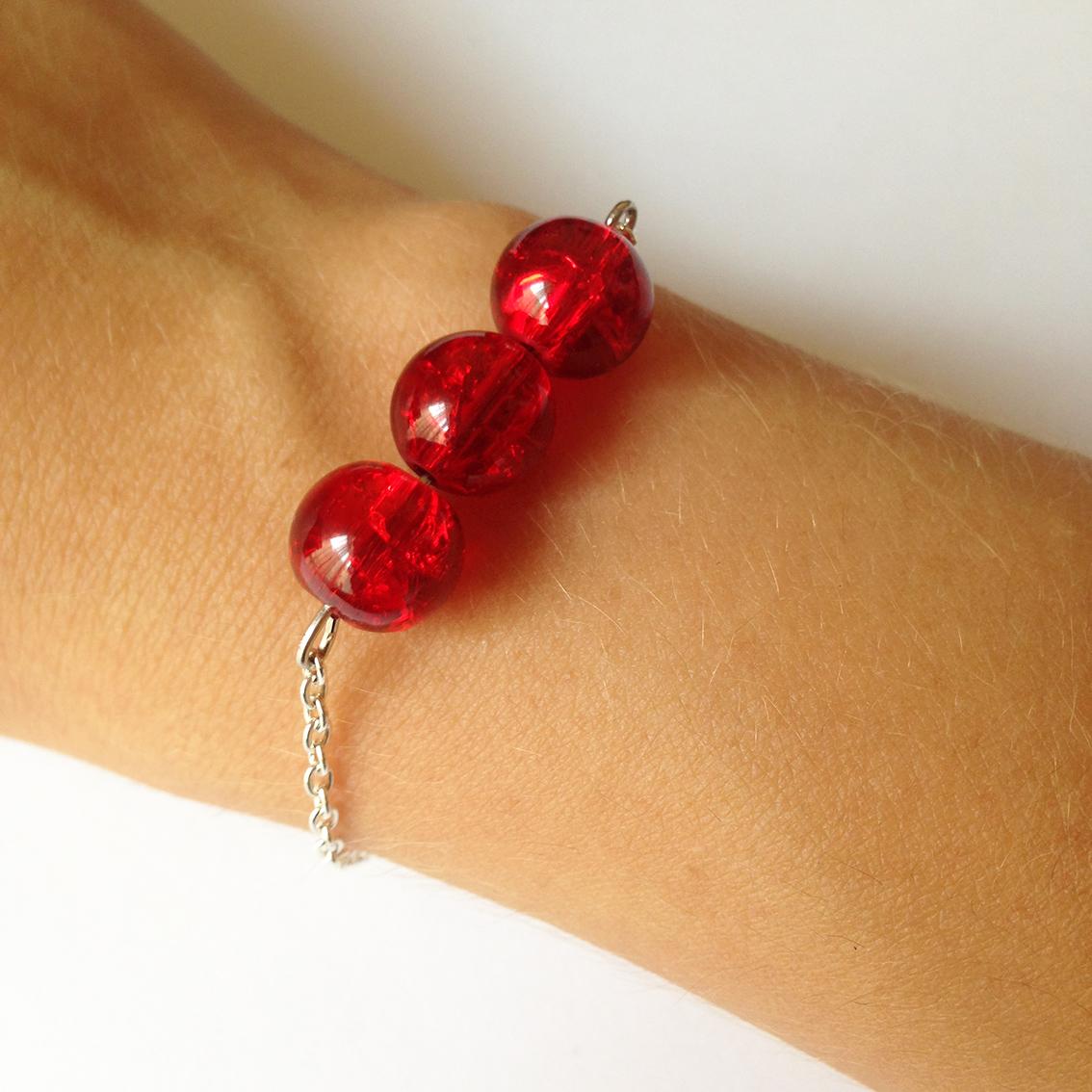 Bracelet Bulle grosses perles rouges
