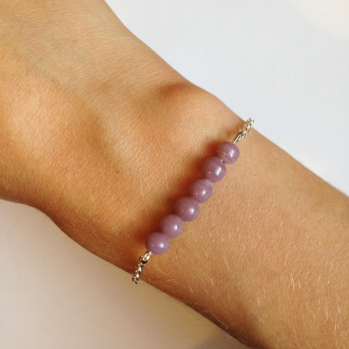 Bracelet Bulle petites perles mauve