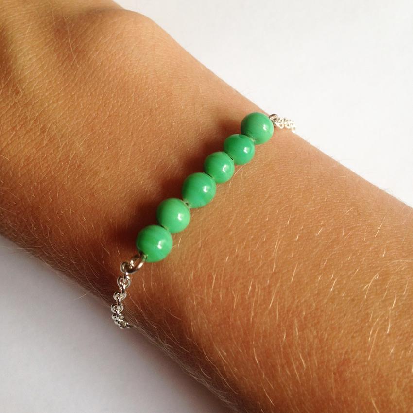 Bracelet Bulle petites perles vert