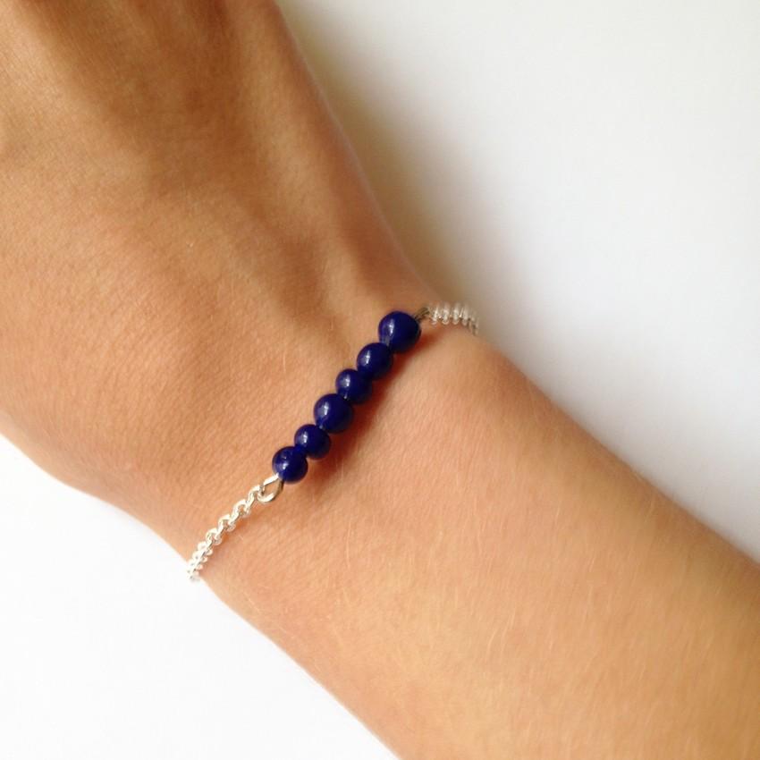 Bracelet Bulle petites perles bleu marine