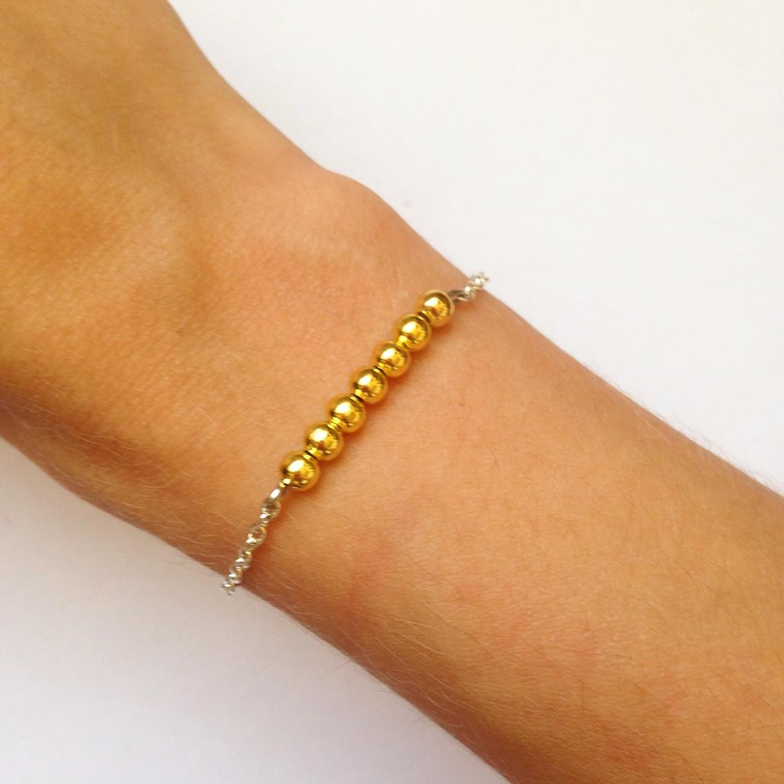 Bracelet Bulle petites perles dorées