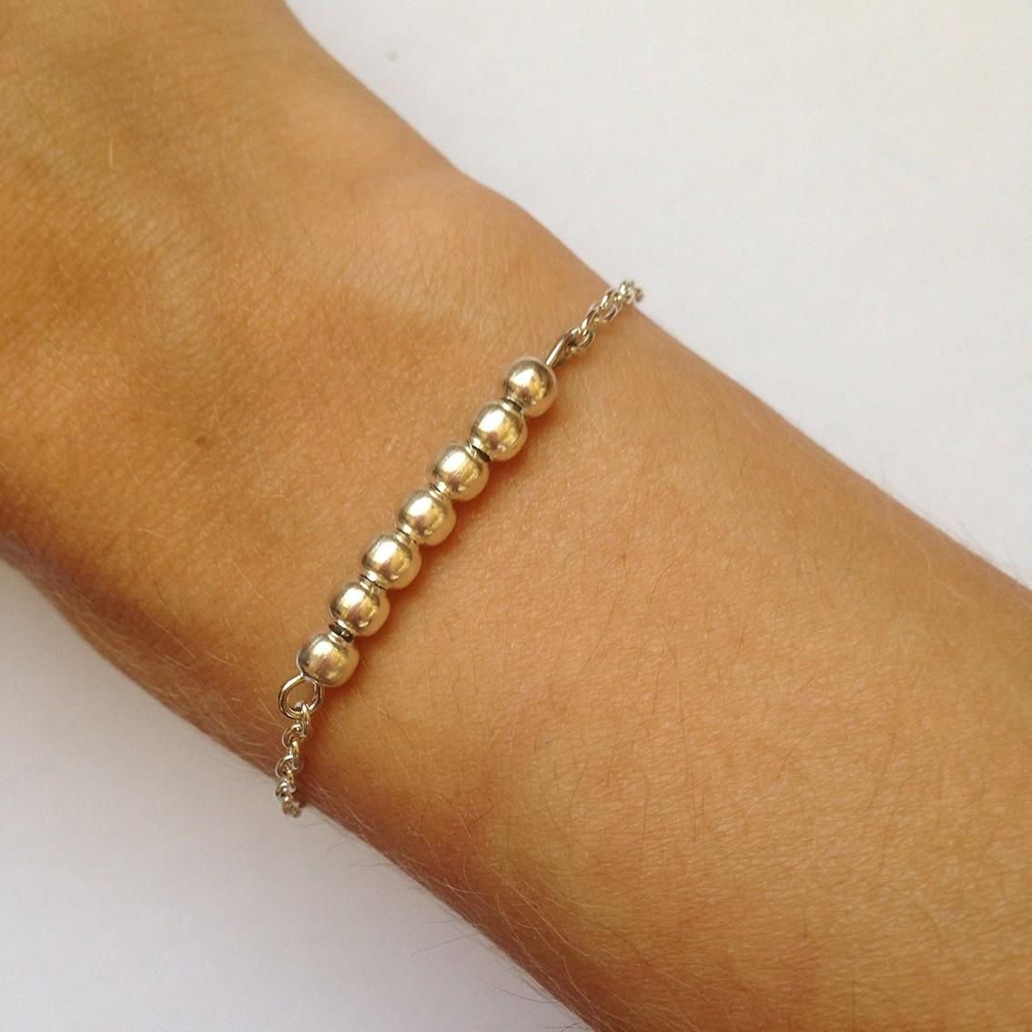 Bracelet Bulle petites perles argentées