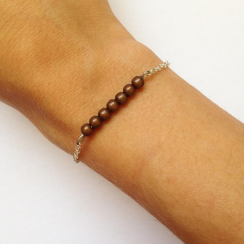 Bracelet Bulle petites perles bronze