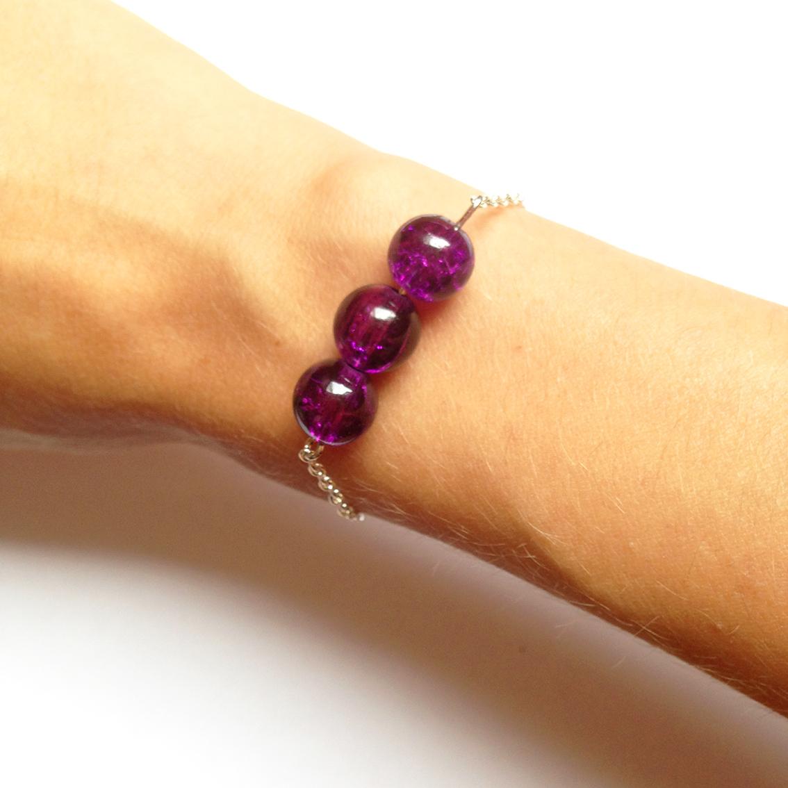 Bracelet Bulle grosses perles violet