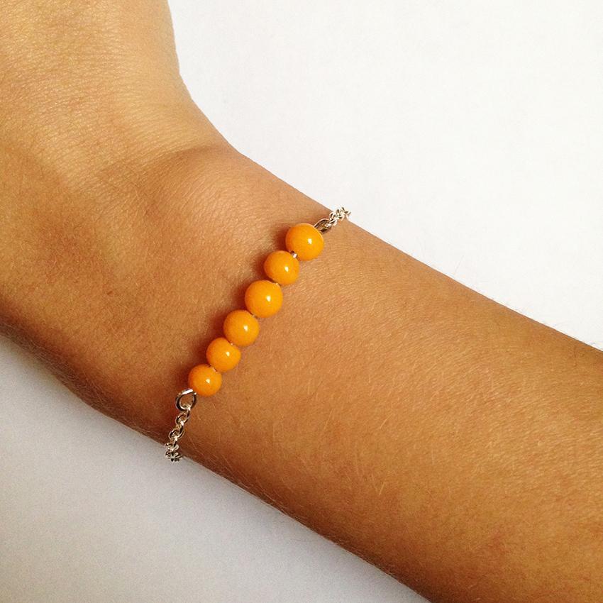 Bracelet Bulle petites perles orange