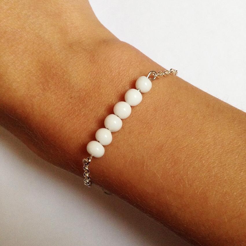 Bracelet Bulle petites perles blanc