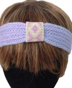 la touche finale bandeau laine tricot perles tissage fait main